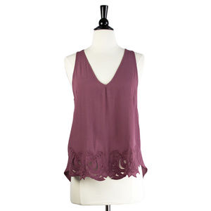 NWT Sleeveless Embroidered Hem Tank, S